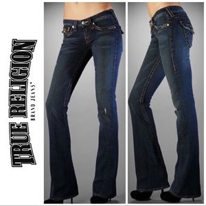 True Religion Distressed Twisted Flare Jeans 8 29